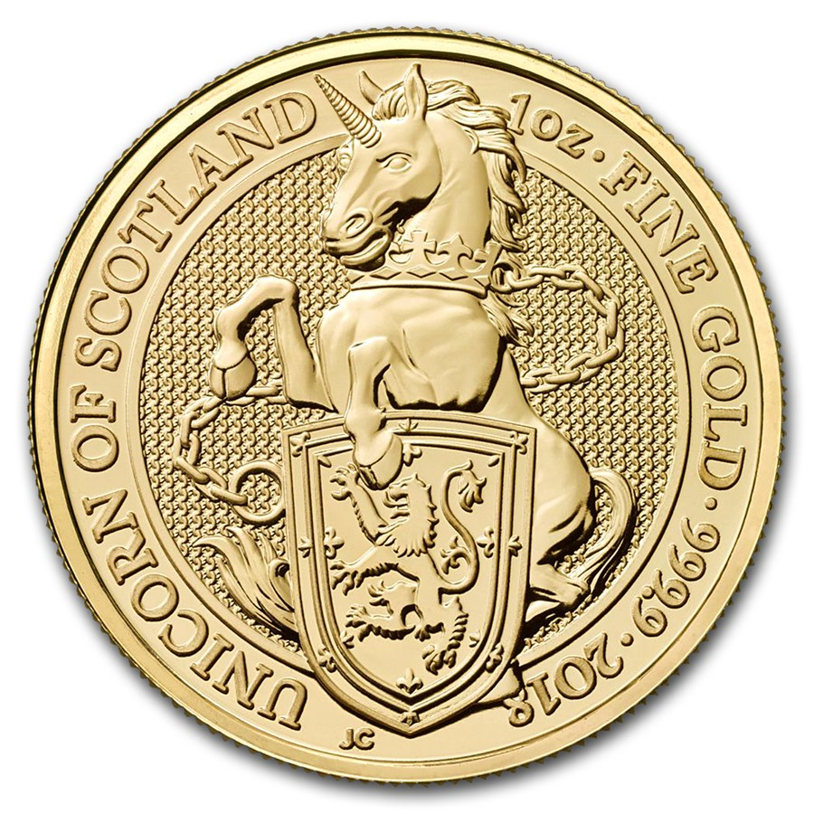 2018 1 oz. Queen's Beast Gold Unicorn (BU)