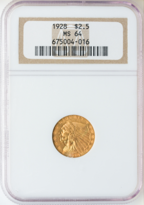 $2 1/2 Indian MS64 Certified (Types Vary)