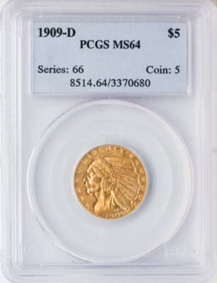 $5 Indian MS64 Certified (Types Vary)