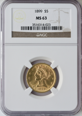 $5 Liberty MS63 Certified (Types Vary)
