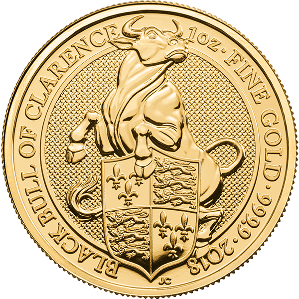 2018 1 oz. Gold Queen's Beast Black Bull of Clarence (BU)