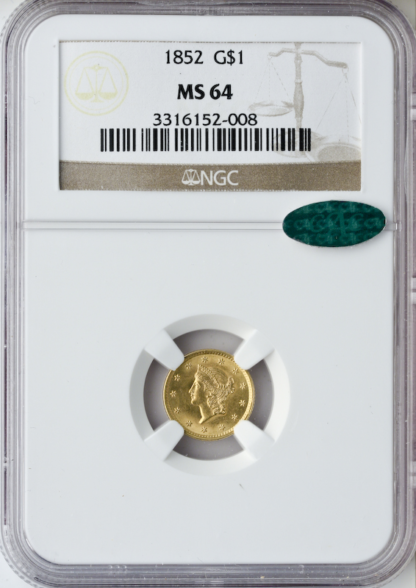1852 Gold $1 NGC MS64 CAC
