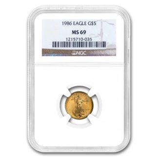 1986 1/10 oz. American Gold Eagle NGC MS69