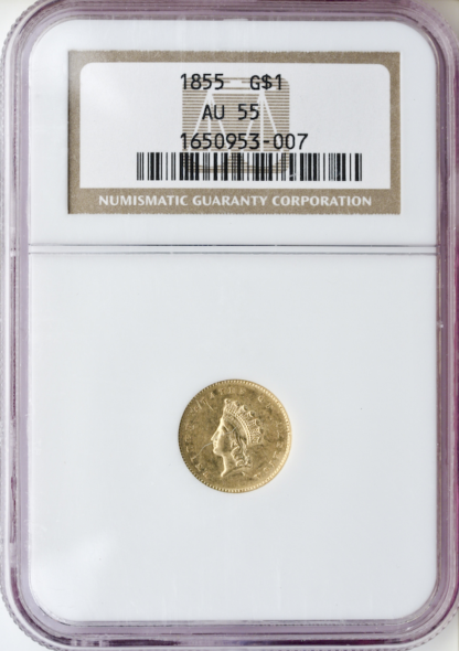 1855 Ty 2 Gold $1 NGC AU55