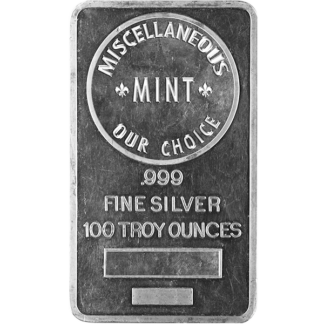 100 oz. Silver Bar (Brand our choice)