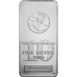 10 oz. Silver Walking Liberty Bar