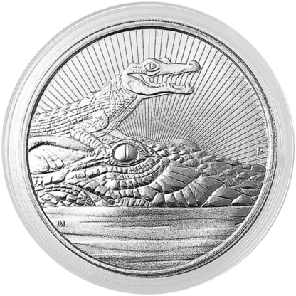 2019 10 oz. Perth Mint Piedfort Silver Crocodile Mother and Baby (BU)