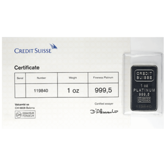 1 oz. Platinum Bar - Credit Suisse