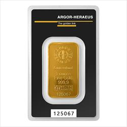 1 oz. Gold Bar - Argor-Heraeus Kinebar