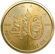 2019 1 oz. Canadian Gold Maple Leaf - 40th Anniversary Edition (BU)