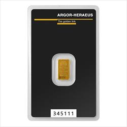 1 Gram Gold Bar - Argor Heraeus