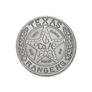 1 oz. Silver Round Texas Ranger Badge Antiqued - Intaglio Mint