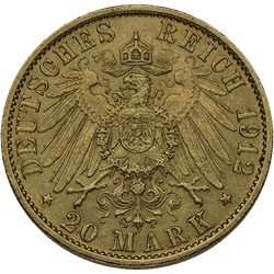 20 Mark German Gold Coin (Dates/Types Vary)