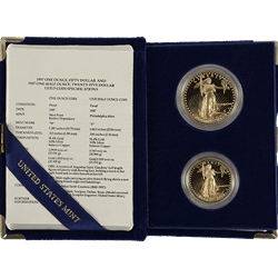 2 Piece American Gold Eagle Set Proof (Dates Vary) (BU)