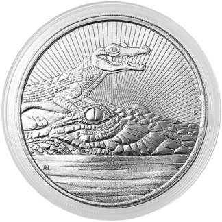 2019 2 oz. Piedfort Australian Silver Crocodile Mother and Baby (BU)