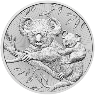 2018 2 oz. Piedfort Australian Silver Koala Mother and Baby (BU)