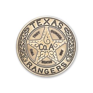 2 oz. Silver Round Texas Ranger Badge Antiqued - Intaglio Mint