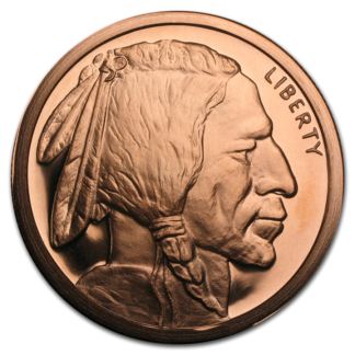 5 oz. copper buffalo nickel round
