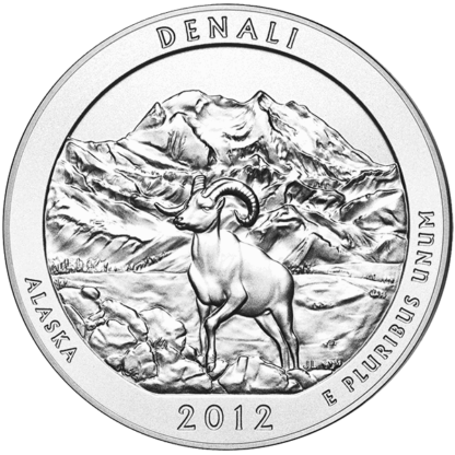 2012 5 oz. Silver America the Beautiful Denali National Park (BU)