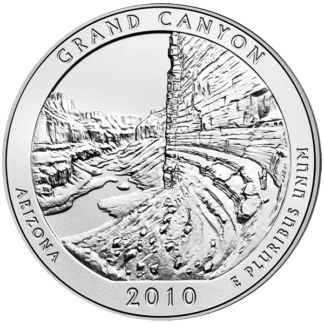 2010 5 oz. Silver America the Beautiful - Grand Canyon (BU)
