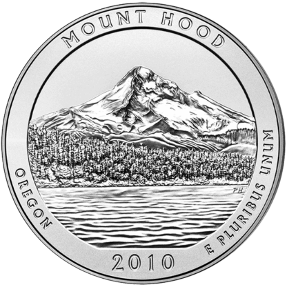 2010 5 oz. Silver American the Beautiful - Mount Hood National Park (BU)
