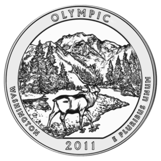 2010 5 oz. Silver America the Beautiful - Olympic National Park Washington (BU)