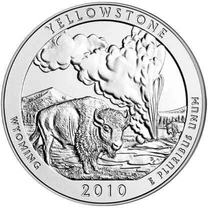 2010 5 oz. Silver America the Beautiful - Yellowstone National Park (BU)