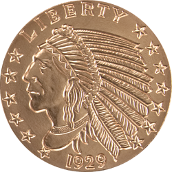 5 oz. Copper Round Incuse Indian