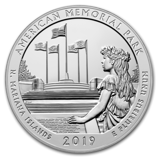 2019 5 oz. Silver America the Beautiful Memorial Park (BU)