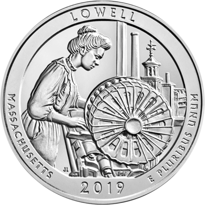 2019 5 oz. Silver America the Beautiful - Lowell National Historic Park
