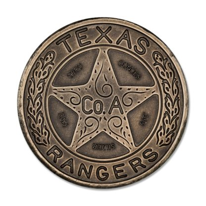 5 oz. Silver Round Texas Ranger Badge Antiqued - Intaglio Mint