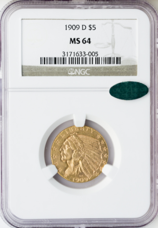 1909-D $5 Indian NGC MS65 CAC