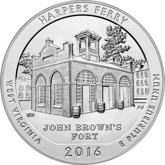 2016 5 oz. Silver America the Beautiful - Harpers Ferry West Virginia (BU)