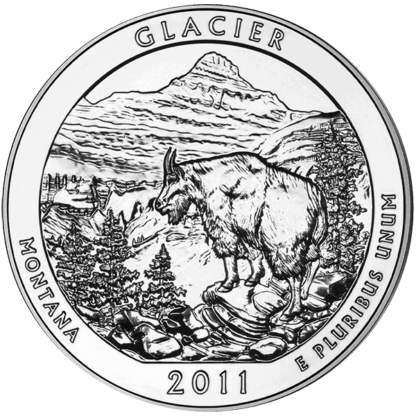 2011 5 oz. Silver America the Beautiful - Glacier National Park (BU)