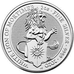 2 oz. silver queens beast lion of mortimer