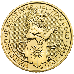 2020 1 oz. Gold Queen's Beast White Lion of Mortimer