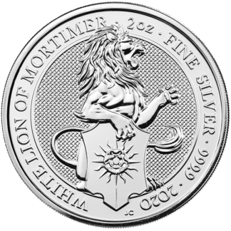 2020 2 oz. Silver Queen's Beast - White Lion of Mortimer (BU)