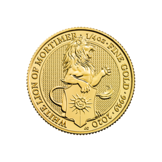 2020 1/4 oz. Gold Queen's Beast - White Lion of Mortimer (BU)