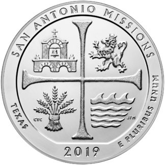 2019 5 oz. Silver America the Beautiful - San Antonio Missions National Park (BU)