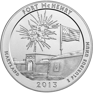 2013 5 Oz. Silver America the Beautiful - Fort McHenry (BU)