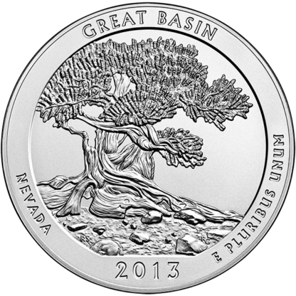 2013 5 oz. Silver America the Beautiful - Great Basin National Park (BU)