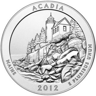 2012 5 oz. Silver America the Beautiful - Acadia National Park (BU)