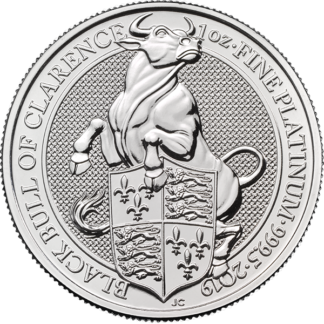 2019 1 oz. Platinum Queen's Beast Black Bull of Clarence (BU)