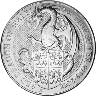 2018 10 oz. Silver Queen's Beast - Red Dragon (BU)