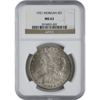 1921 American Silver Morgan Dollar NGC MS63