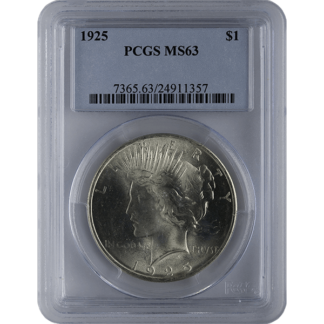 1921-1935 American Silver Peace Dollar PCGS MS63 (Dates Vary)