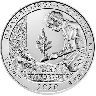 2020 5 oz. Silver America the Beautiful - Marsh-Billings-Rockefeller National Park (BU)