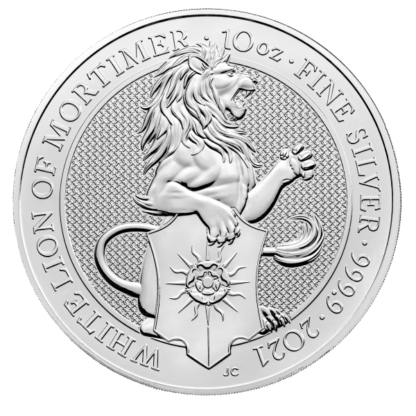 2021 10 oz. Silver Queens Beast White Lion of Mortimer (BU)