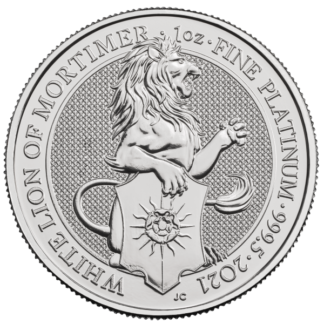 2021 1 oz. Platinum Queens Beast White Lion of Mortimer (BU)