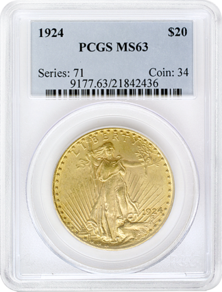 $20 Saint Gaudens MS63 Certified (Types Vary)